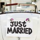 "Close-up of ""Just Married"" sign attached on convertible car's trunk. Horizontal shot."